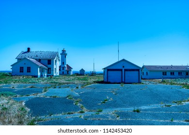 Port Townsend, Washington / USA - June 22, 2018: The Point Wilson Lighthouse site view 2. Port Townsend, Washington.