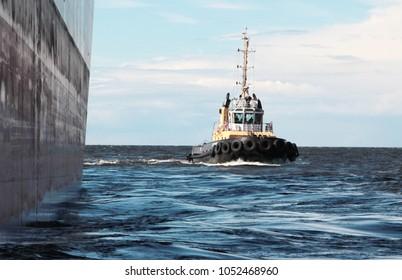 Port tugs are setting the ship to the pier. Russia, Leningrad Region, sea cargo port Ust-Luga.