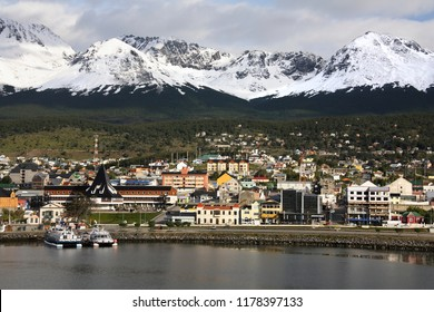 Port of Ushuaia in the Beagle Channel in Tierra del Fuego in southern Argentina. Ushuaia is the world's most southern town and is now a popular departure point for Antarctic cruise ships.