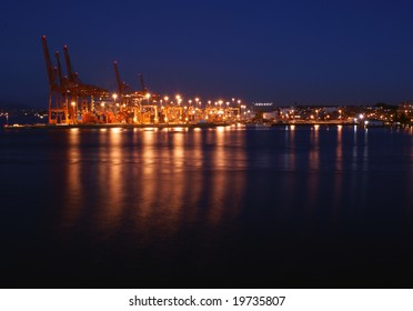 Port of Vancouver at night, Canada