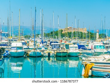 Port Vauban with Fort Carre in Antibes, France