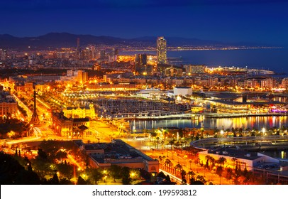 Port Vell and Barcelona cityspace in night. Catalonia, Spain