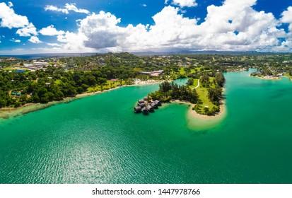 Port Vila, Vanuatu - April 3 2019: Aerial drone view of Holiday Inn Resort Vanuatu, Port Vila, popular holidaymakers resort. Efate Island.