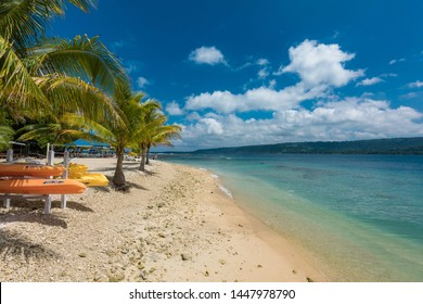 Port Vila, Vanuatu - April 6 2019: Jetty of a tropical Hideaway Island, Vanuatu, Port Vila, popular holidaymakers island for snorkeling. Close to Efate Island.