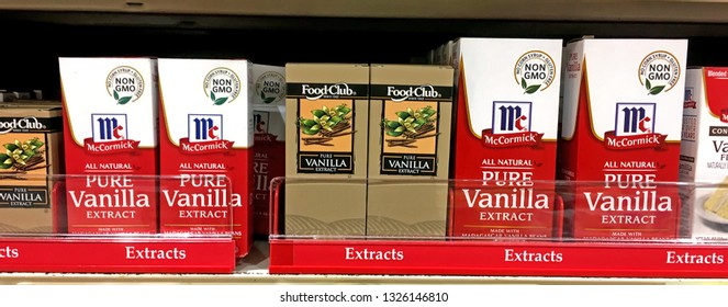 Port Washington, WI, February 28, 2019: Vanilla Extract on a store shelf in grocery store. Contains 35% alcohol. Illustrative editorial