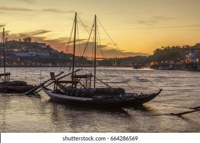 Port Wine boats moored on the River Douro in Porto (Oporto) in Portugal.