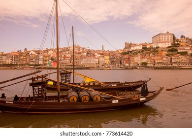 the port wine Boats at the waterfront with the old town on the Douro River in Ribeira in the city centre of Porto in Porugal in Europe. Portugal, Porto, October, 2015.