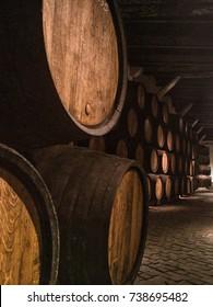 Port Wine cellar casks in cellar