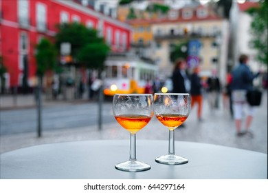 Port wine glasses in the cafe of Lisbon, Portugal