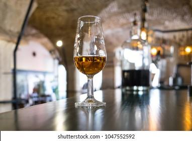 Port wine on bar counter in Lisbon