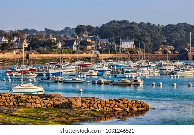Port of yachts in Brittany (Ploumanach) in vicinity of the Pink Granite Coast in north-west of France.