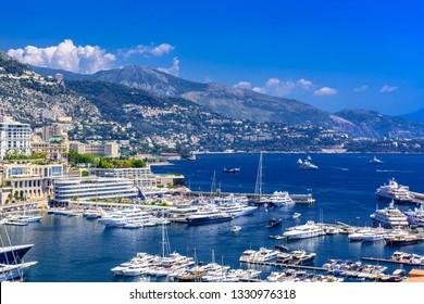 Port with yachts in La Condamine, Monte-Carlo, Monaco, Cote d'Azur, French Riviera.