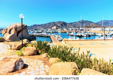 Port and yachts and ships in Villasimius, Cagliari, South Sardinia in Italy