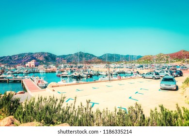 Port with yachts and ships in Villasimius, in Cagliari, South Sardinia, in Italy
