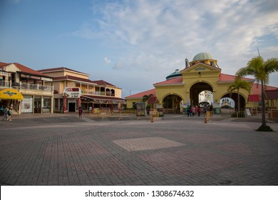 Port Zante, Basseterre / St. Kitts and Nevis - November 8, 2018: Walking around Port Zante during our cruise stop, enjoying the sights and sounds of St. Kitts.