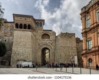 Porta Augusta ancient Etruscan in Perugis, Umbria Italy