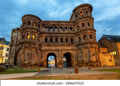 Porta Nigra, an ancient roman gate in Trier, Germany, is the main historical landmark and UNESCO World Culture heritage site
