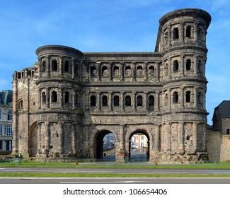 The Porta Nigra (Black Gate) - a 2nd-century Roman city gate in Trier, Germany