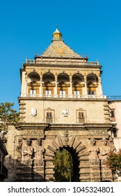 Porta Nuova (New Gate) and its four big telamones is a monumental city gate of Baroque style located in the old town of Palermo in Sicily, Italy