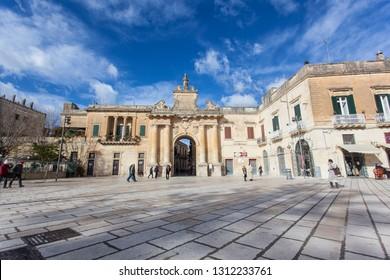 Porta San Biagio Lecce in Puglia during a sunny day and clouds. Lecce 01/08/2019 at 12:45 pm