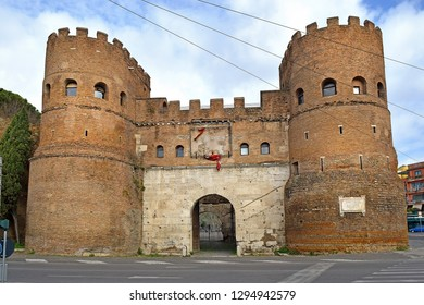 Porta San Paolo (San Paolo Gate) in the 3rd-century Aurelian Walls at Aventine hill in Rome, Italy