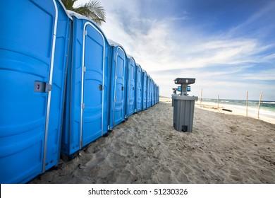 portable bathroom on the beach
