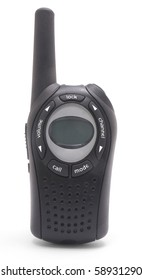 Portable Black Walkie Talkie Radio on white background