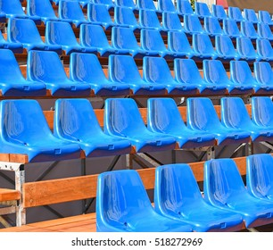 Portable bleachers row of the stadium