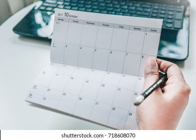 Portable diary calendar for note taking events. Of October 2017.