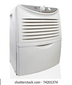 Portable electric dehumidifier on white