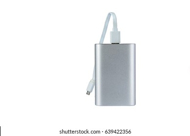 Portable external battery isolated on a white background .