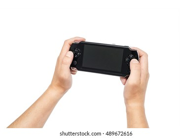Portable game console, joypad on white background, time for videogames, playing in gamepad, Video game console controller isolated on white background