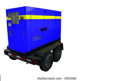 Portable Generator Trailer.  All names removed from side and tire walls. Saturated in blue.