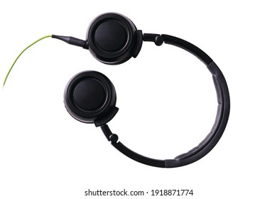 portable green foldable wired headset
