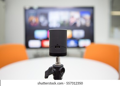 Portable Live Streaming camera in broadcasting studio.