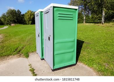 Portable mobile toilets public in the park