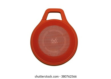 Portable Outdoor Mini Bluetooth Speaker in Red Shade with Round Shape Isolated On White