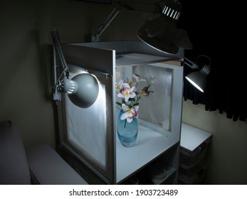 Portable Photography Light Box studio with three attached adjustable lights together with various light filters. Photo subject is white flowers in a translucent blue vase.