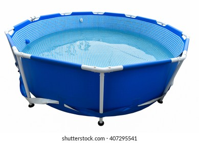 Portable plastic swimming pool isolated on background