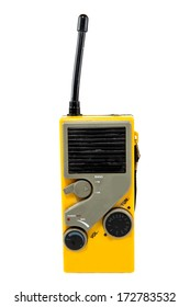 A portable radio against a white background