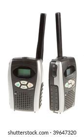 Portable radio station. Isolated on white background.