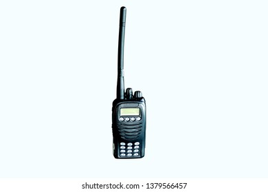 Portable radio transceiver isolated on white background. Portable walkie talkie. Communication device