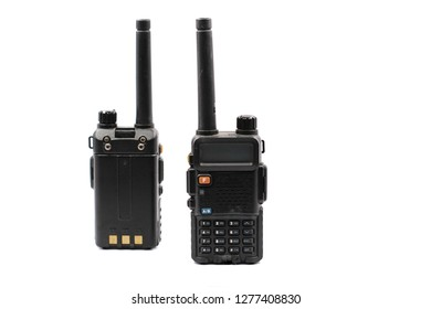 Portable radio transceiver sets isolated on white background