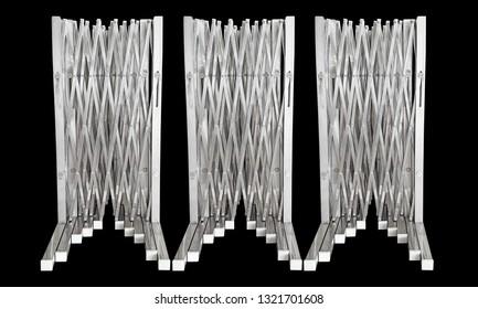 portable stainless steel barrier for road blocker on black background