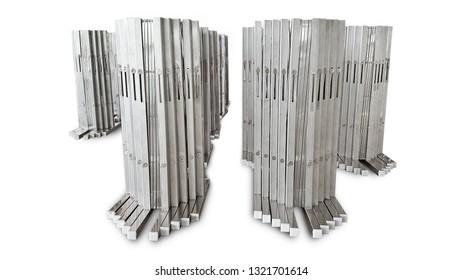 portable stainless steel barrier for road blocker on white background