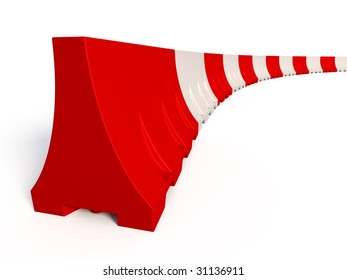 Portable traffic barriers isolated on white background
