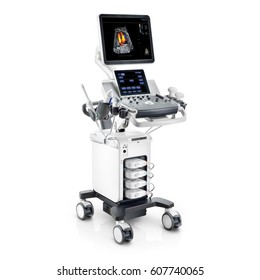 Portable Ultrasound Machine Isolated on White Background. Medical Diagnostic Equipment. Clipping Path