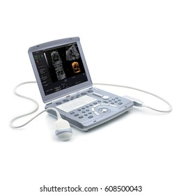 Portable Ultrasound Machine Isolated on White Background. Medical Diagnostic Equipment. Sonogram Machine Clipping Path