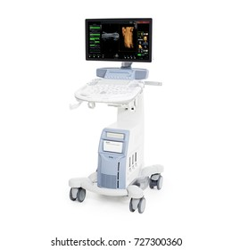Portable Ultrasound Machine Isolated on White Background. Diagnostic Medical and Science Equipment. Gynecology Ultrasound Scan. Female Birth. Urology Scan. Baby Scan Photo. Clipping Path2