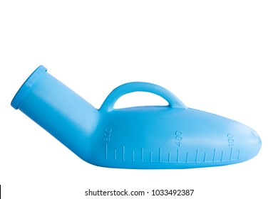 A portable urinals plastic for man, use in case man can not get up to urinate, white background